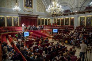Un any més la NAU de la UV s'ha plenat en aquest lliurament de premis. Foto: Unió Periodistes Valencians / Biel Aliño